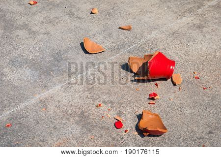 Shards of broken red clay pot, a ritual for the feast of the Passover