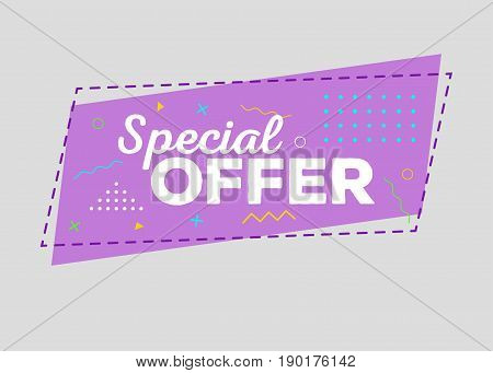Trendy Sale Geometric Vector Bubble. Special Offer Tag Discount Label Promo Badge. Flat Shape Vintage Style. Bright Retro Background with Memphis Style Pattern for Sale Promo Marketing.