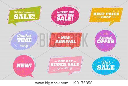 Big Set of Trendy Sale Geometric Bubbles. Flat Shapes. Bright Retro Background with Memphis Style Pattern. Hot Sale Tag Special Offer Label Best Price Badge New Summer Collection.