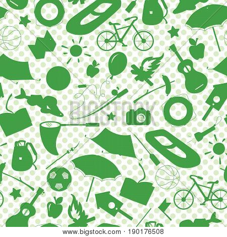 Seamless pattern on the theme of summer camp and vacations green silhouettes of icons on white background polka dot