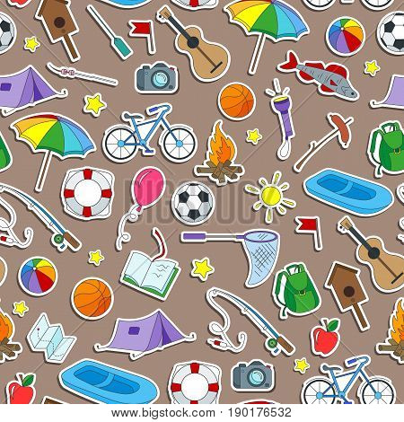 Seamless pattern on the theme of summer camp and vacations icons stickers on brown background