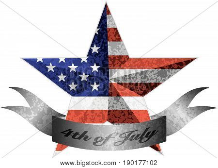 4th of July Banner Independence Day 3D Star Shape with USA American Flag Grunge Texture vector  Illustration