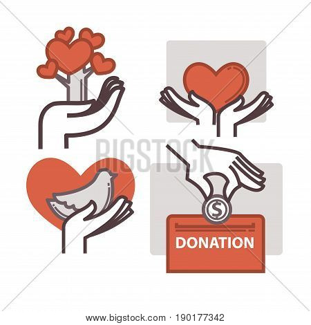 Donation and volunteer work icons. Symbols or logo of human care, assistance for health, help and hope sign, medical charity and blood giving. Flat design elements in red color.