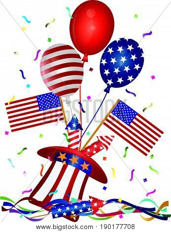4th of July Stars and Stripes Balloons hat firecrackers American Flag vector  Illustration
