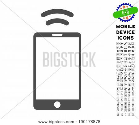 Mobile Irda Signal icon with cell phone glyph package. Vector illustration style is a flat iconic symbol, gray colors. Designed for web and software interfaces.