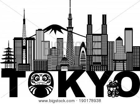 Tokyo Japan City Skyline Panorama Daruma Doll Maneki Neko Cat Text Black and White vector  Illustration