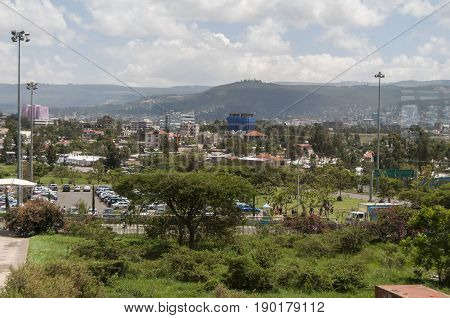 The view of the Addis Ababa from the Addis Ababa Bole International Airport. Ethiopia, Africa, April 2013.