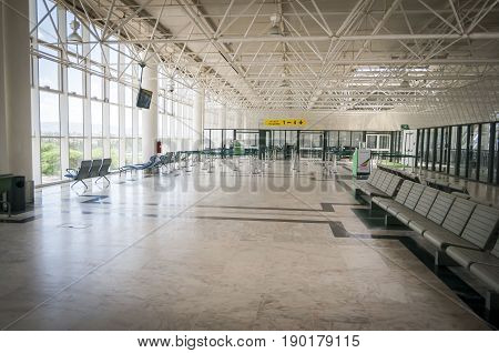 Empty departure hall in the Bole International Airport. Addis Ababa, Ethiopia, April 2013.
