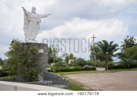 Statue of Christ in front of the St.Paul's Cathedral. Abidjan, Ivory Coast, Africa, April 2013.