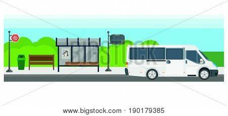 Passenger bus at bus stop station with route schedule display. Public transport or intercity tourist express vector flat design for infographics template