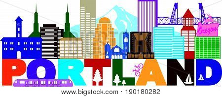 Portland Oregon Outline Silhouette with City Skyline Downtown Panorama and Text Color Isolated on White Background vector  Illustration