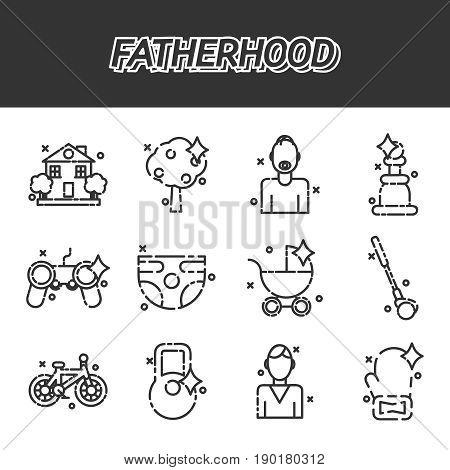 Fatherhood flat icons set. Vector illustration, EPS 10
