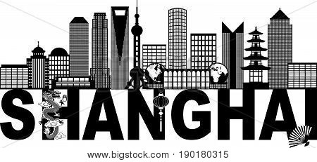 Shanghai China City Skyline Outline Silhouette Black Text Abstract Isolated on White Background Illustration