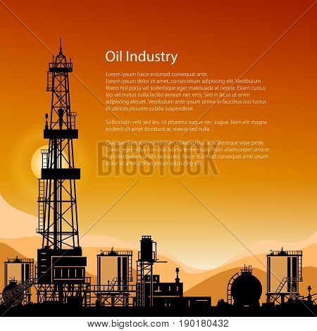 Silhouette Oil or Natural Gas Drilling Rigs on a Background of Mountains at Sunset Flyer Drilling Platform with Outbuildings and Tanks and Cisterns Poster Brochure Design Vector Illustration