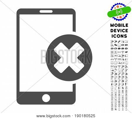 Phone Cancel icon with mobile communicator pictogram pack. Vector illustration style is a flat iconic symbol, gray colors. Designed for web and software interfaces.