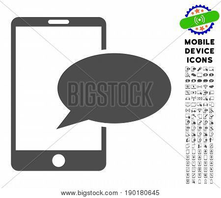 Phone Message icon with mobile communicator glyph clip art. Vector illustration style is a flat iconic symbol, gray colors. Designed for web and software interfaces.
