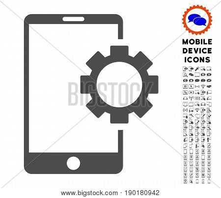 Phone Setup Gear icon with smartphone pictogram collection. Vector illustration style is a flat iconic symbol, gray colors. Designed for web and software interfaces.