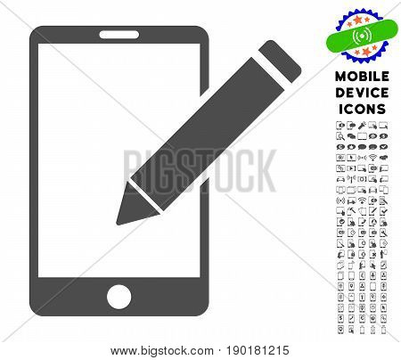 Smartphone Edit Pencil icon with mobile communicator glyph package. Vector illustration style is a flat iconic symbol, gray colors. Designed for web and software interfaces.