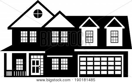 Two level house with two car garage black and white outline vector  illustration