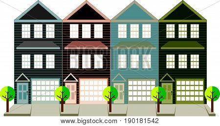Row of three level townhouse with tandem car parking garage on tree lined street color outline vector  illustration