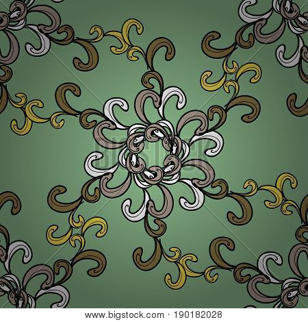 Ornamental colorful floral ornament in baroque style. Antique ornamental repeatable sketch. Damask seamless pattern repeating background. Ornamental element on colorful background.