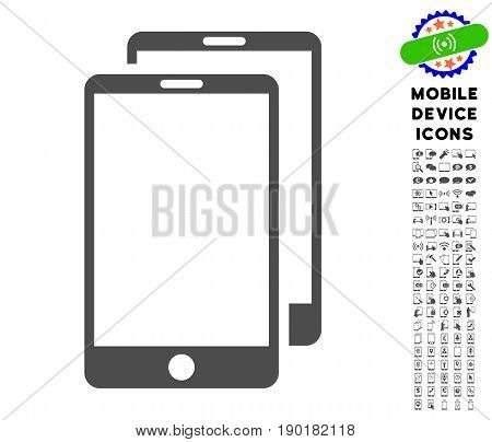Smartphones icon with mobile communicator glyph clip art. Vector illustration style is a flat iconic symbol, gray colors. Designed for web and software interfaces.