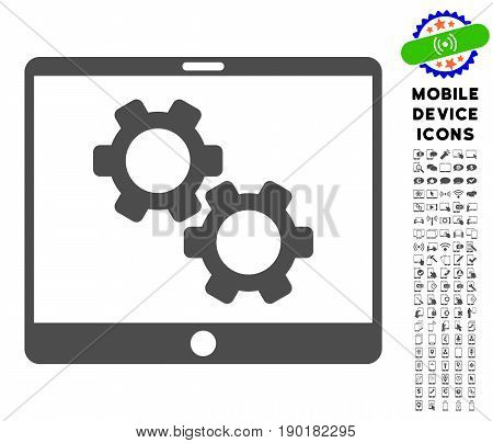 Tablet Settings Gears icon with mobile device glyph collection. Vector illustration style is a flat iconic symbol, gray colors. Designed for web and software interfaces.