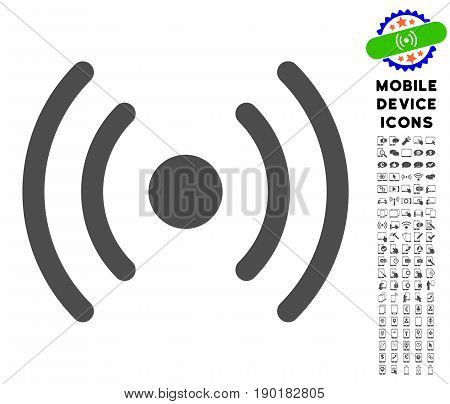 Wi-Fi Source icon with mobile communicator icon pack. Vector illustration style is a flat iconic symbol, gray colors. Designed for web and software interfaces.