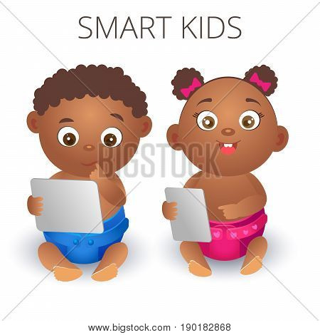 Two lovely black child with a tablet in hands. Clever girl and boy in diaper on a white background