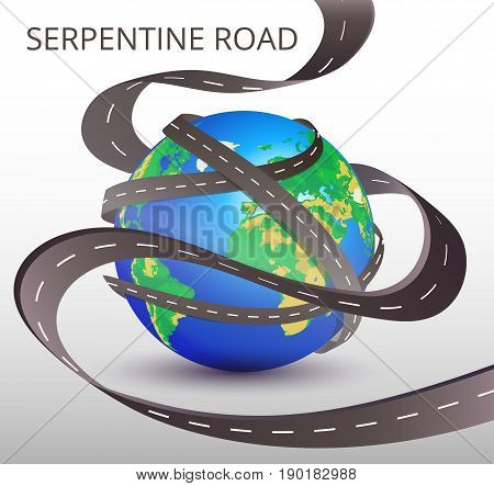 Planet Earth With Many Intertwined Roads. Freight And Logistic Technologies, Winding Roads. Vector I