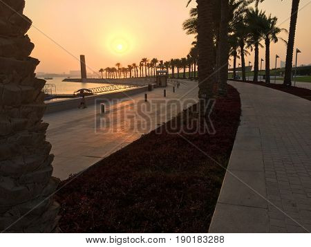 Sunset in the MIA (Museum of Islamic Art) Park, located on one end of the seven kilometers long Corniche in the Qatari capital, Doha.