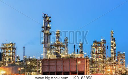 Refinery plant of a petrochemical industry at night
