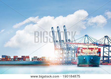 Logistics and transportation of International Container Cargo ship and cargo plane in the ocean Freight Transportation Shipping