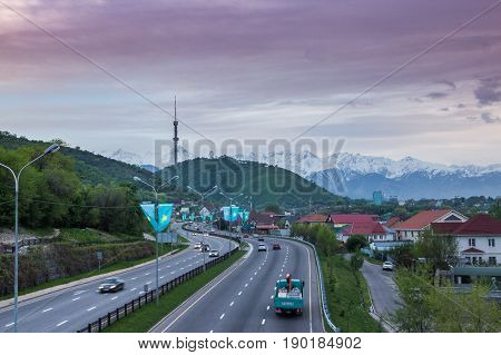 Almaty, Kazakhstan - May 6: Kok Tobe Hill And Tv Tower. City View On May 6, 2017 In Almaty, Kazakhst