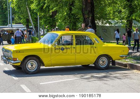 Almaty, Kazakhstan - May 9: Old Soviet Car At Victory Day Celebration (victory In The World War Ii)