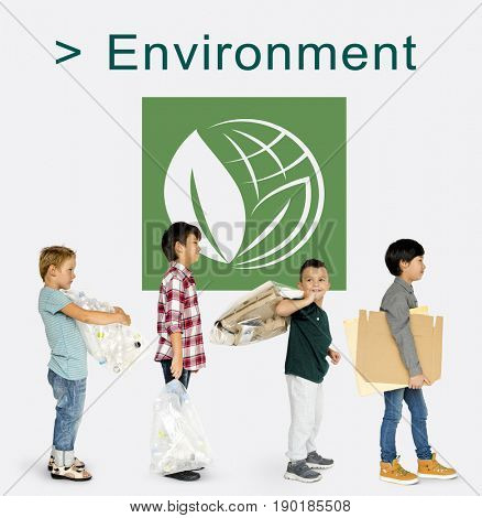 Little Kids with Recycle Sign Eco Friendly Save Earth Word Graphic