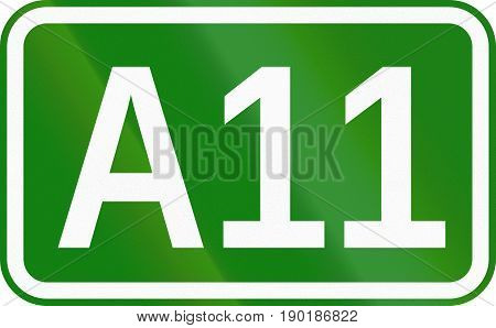 A11 Motorway Marking Sign Used In Romania