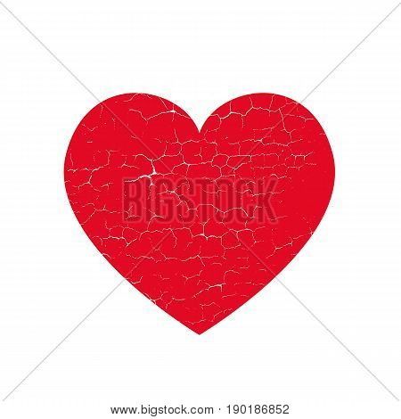 Isoltted distress grunge heart with cracked concrete texture. Element for greeting card Valentine s Day wedding t-shirt. Creative concept. Vector illustration