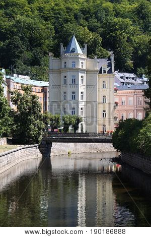 A stylish building in the spa town of Karlovy Vary Czech Republic.