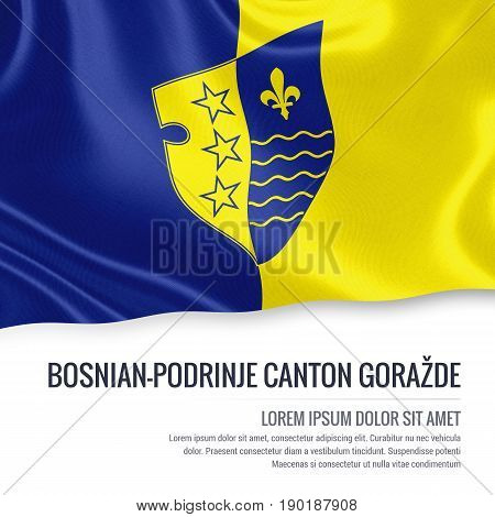 Federation of Bosnia and Herzegovina state Bosnian-Podrinje Canton Goražde flag waving on an isolated white background. State name and the text area for your message. 3D illustration.