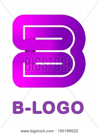 Abstract letter B - creative logo template vector illustration. Logo for corporate identity of company of ribbon, closed line of gradient color, tortuous path. Neon glowing letter. Typographical font. Graphic design elements.