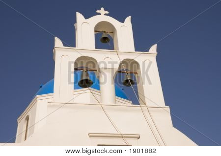 Churchbells In Santorini At Dawn