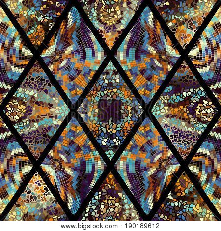 Seamless background pattern. Abstract geometric pattern of rhombuses with mosaics