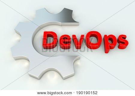 DevOps gear wheal white background 3d illustration