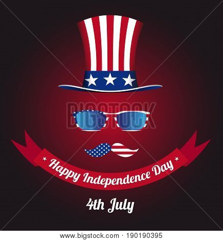 Glasses and mustache design of the American flag. Hat of Uncle Sam. Statue of Liberty in reflection. National holiday in United States of America Independence Day. Vector illustration EPS 10.
