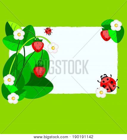 grenn background, small sheet of white paper and abstract leaves, strawberry with ladybugs