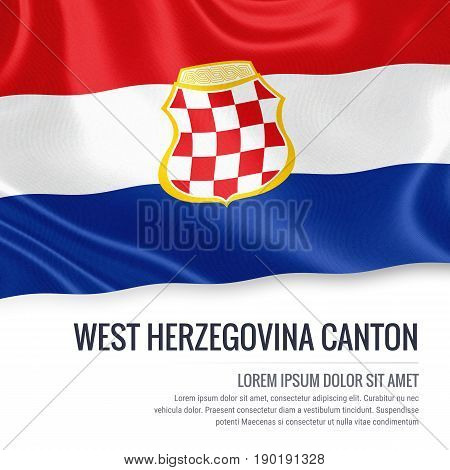 Federation of Bosnia and Herzegovina state West Herzegovina Canton flag waving on an isolated white background. State name and the text area for your message. 3D illustration.