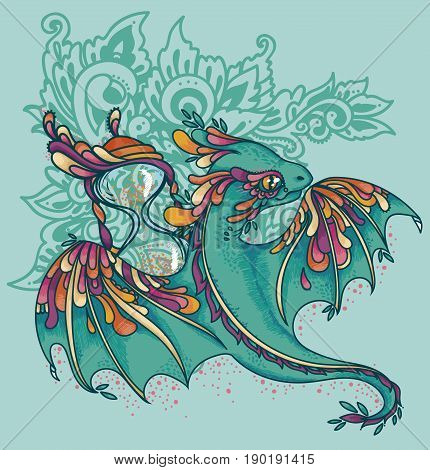 cute colorful dragon and hourglass, time guardian, mint and pink colors, vector illustration