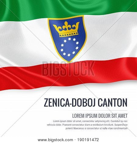 Federation of Bosnia and Herzegovina state Zenica Doboj Canton flag waving on an isolated white background. State name and the text area for your message. 3D illustration.