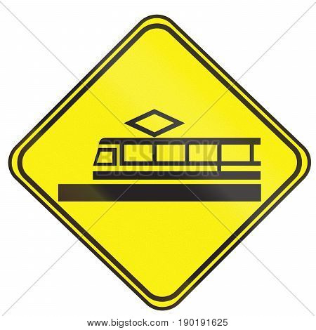 Tram Warning Sign Used In The Country Of Uruguay